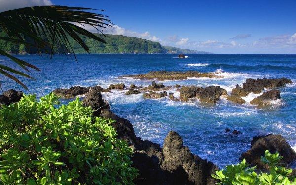 Earth Coastline Wave Rock Ocean Shore Sky HD Wallpaper | Background Image