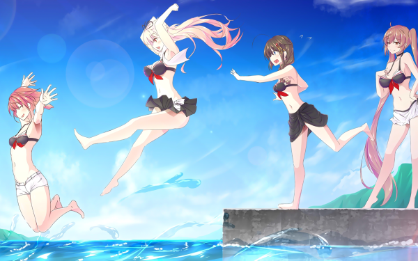 Anime Kantai Collection Yuudachi Shigure Murasame Shiratsuyu HD Wallpaper | Background Image