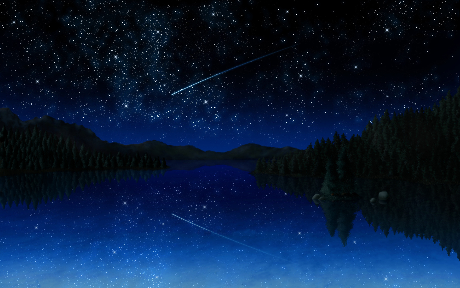 Anime - Landscape  Painting Stars Lake Mountain Artistic Space Wallpaper