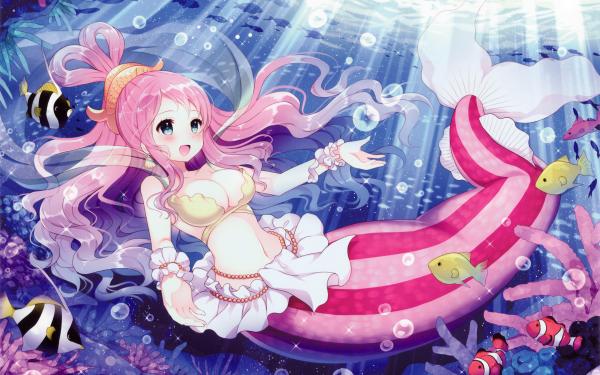 Anime One Piece Long Hair Pink Hair Blue Eyes Mermaid Fish Beads Shirahoshi Bikini Underwater HD Wallpaper | Background Image