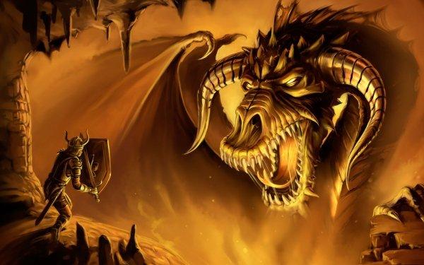 Fantasy Dragon Horns Fire Armor Shield Sword Brave Warrior HD Wallpaper | Background Image