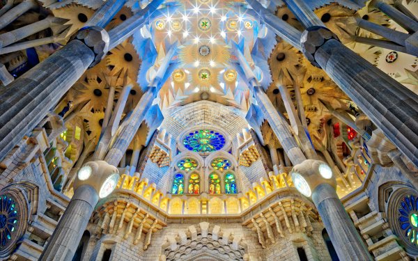 Religious Sagrada Família Basilicas  Barcelona Spain Columns Stained Glass Cathedral HD Wallpaper   Background Image