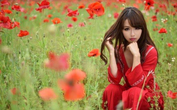 Women Asian Model Brunette Brown Eyes Summer Poppy Flower Red Flower HD Wallpaper | Background Image