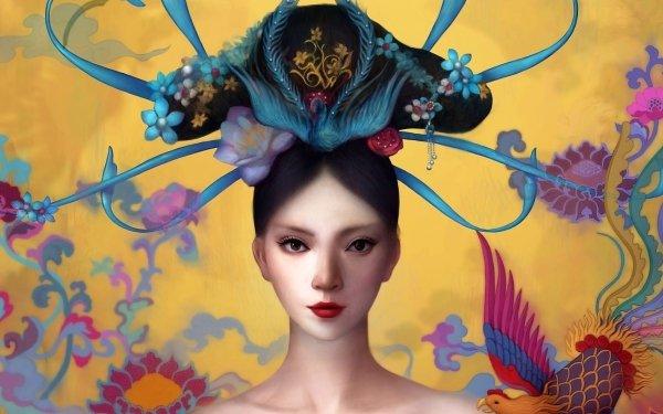 Fantasy Geisha Colorful Lipstick HD Wallpaper | Background Image