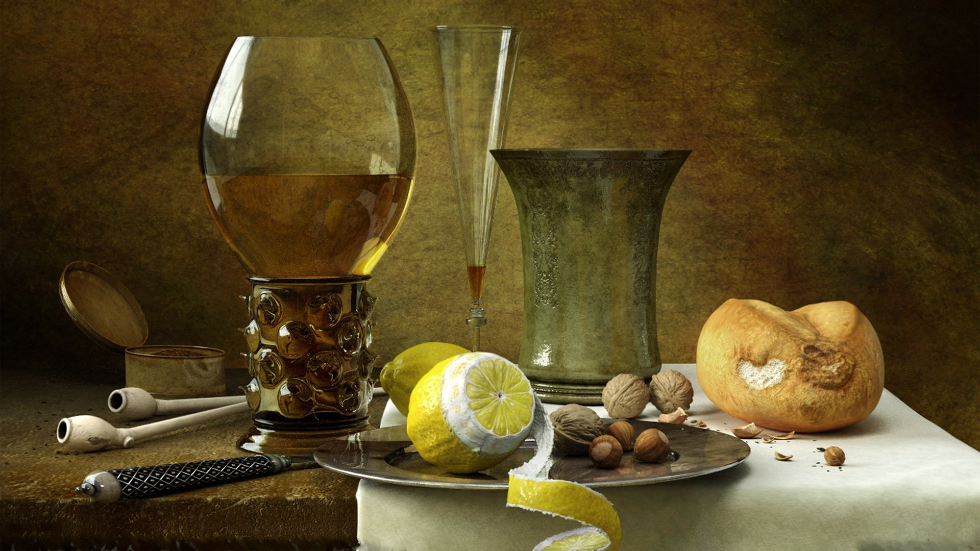 Artistic - Painting  Drink Artistic Food Still Life Lemon Almond Wallpaper