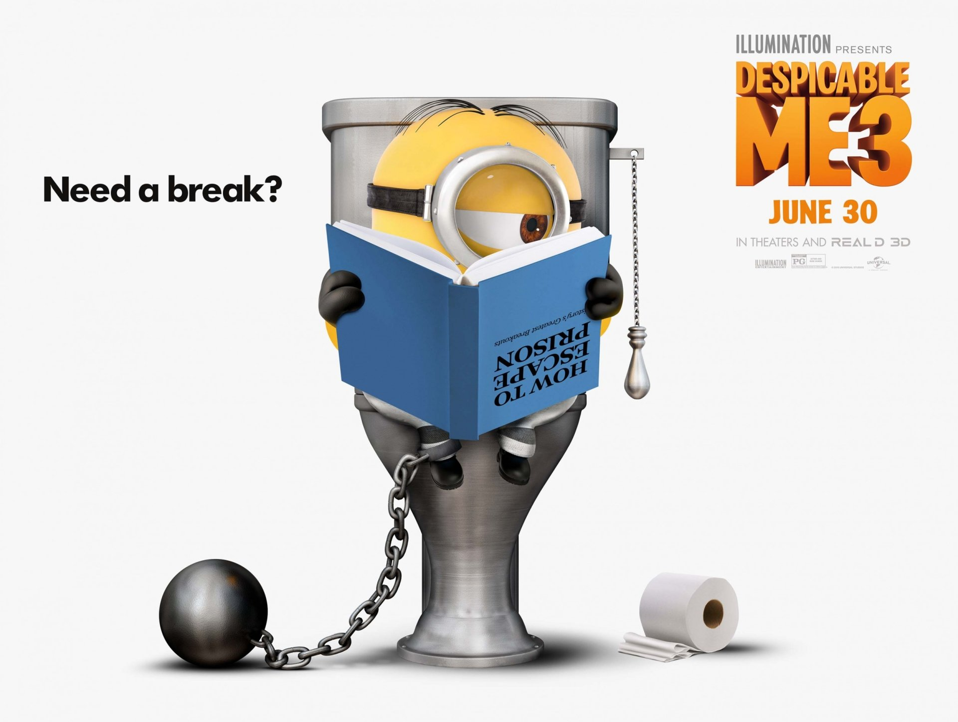 Movie - Despicable Me 3  Stuart (Minions) Toilet Minions Wallpaper
