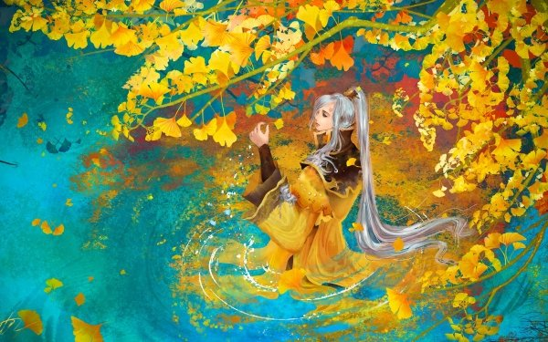 Fantasy Women Woman Girl Water Fall Colorful Leaf Long Hair White Hair Oriental Reflection HD Wallpaper   Background Image