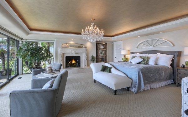 Construction Humaine Pièce Fireplace Bed Bedroom Meubles Fond d'écran HD | Image