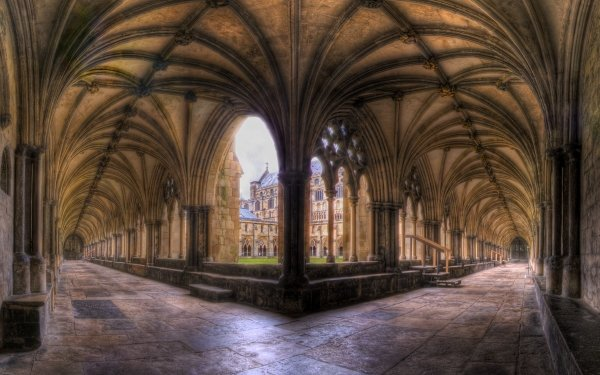 Religious Abbey Arch Architecture Courtyard HDR HD Wallpaper | Background Image