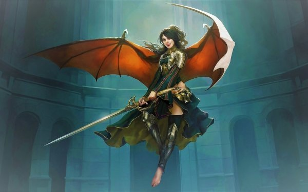 Fantasy Women Warrior Dark Demon Warrior Woman Sword Wings HD Wallpaper | Background Image