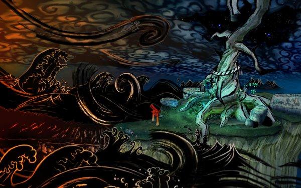 Video Game Ōkami Painting Dark Light HD Wallpaper   Background Image