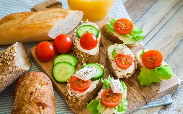 Food Still Life Bread Cucumber Tomato HD Wallpaper | Background Image