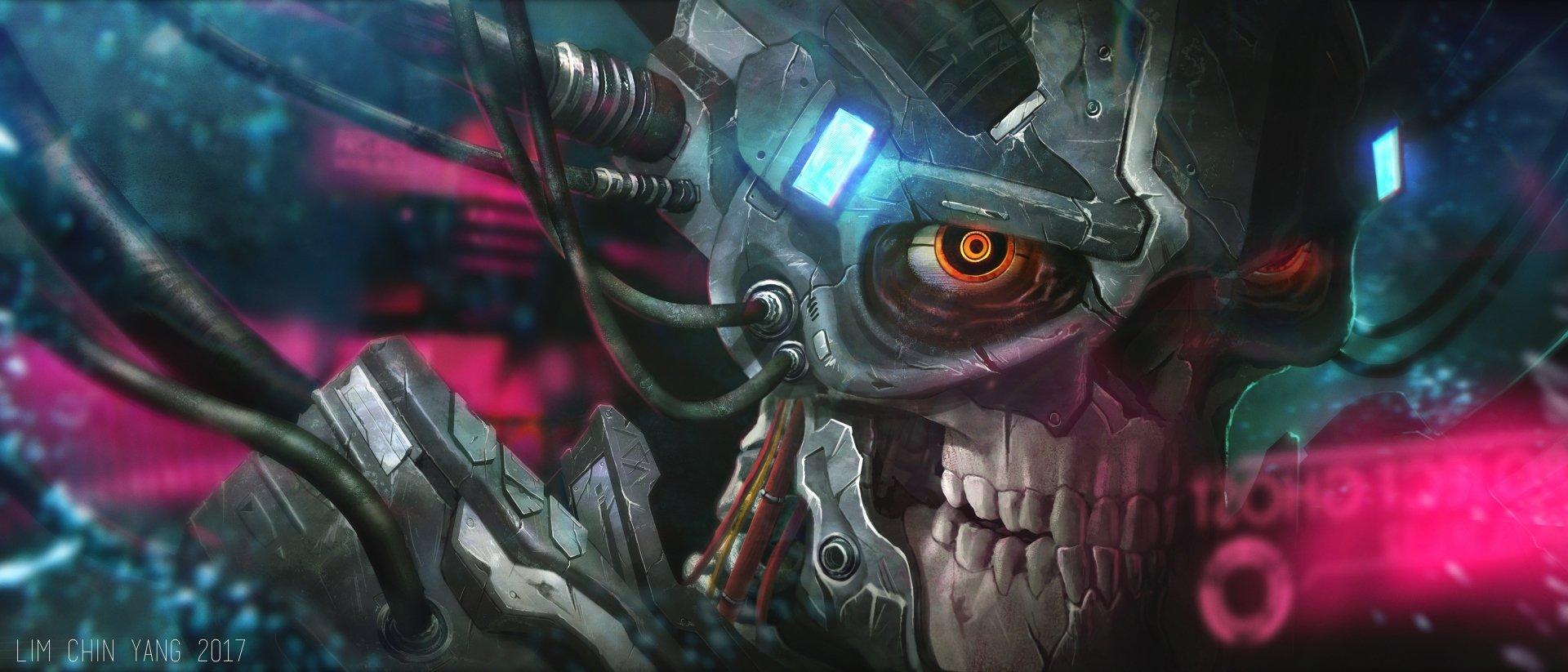 Sci Fi - Cyborg  Skull Wallpaper