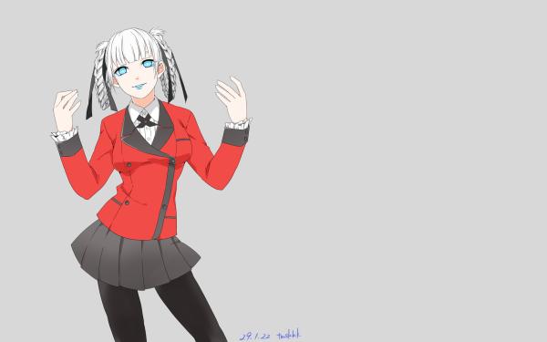 Anime Kakegurui Kirari Momobami Skirt Pantyhose White Hair Blue Eyes Braid Short Hair HD Wallpaper | Background Image