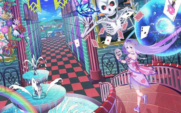 Anime Original Skeleton Skull Card Rainbow Fantasy Dress White Hair Mask Ribbon HD Wallpaper | Background Image