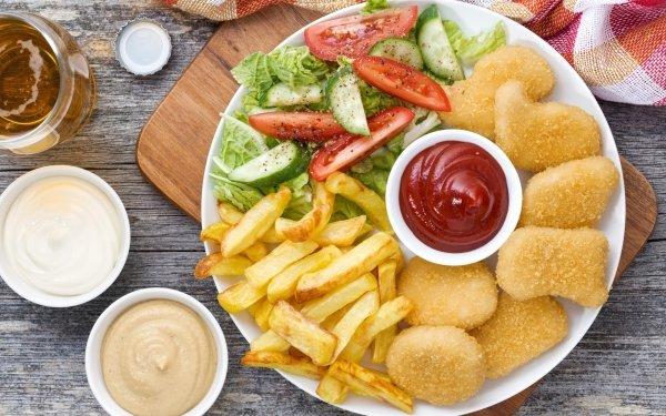 Alimento Comida Ensalada Ketchup French Fries Pollo Fondo de pantalla HD | Fondo de Escritorio