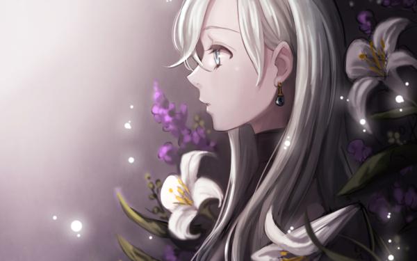 Anime The Seven Deadly Sins Elizabeth Liones Blue Eyes Earrings White Hair Long Hair Blume HD Wallpaper | Hintergrund