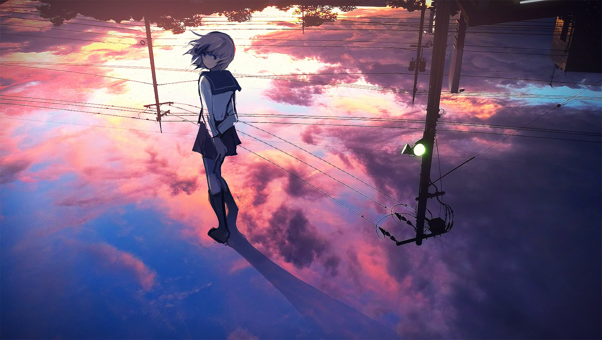 Anime - Original  Girl Cloud Reflection Wallpaper