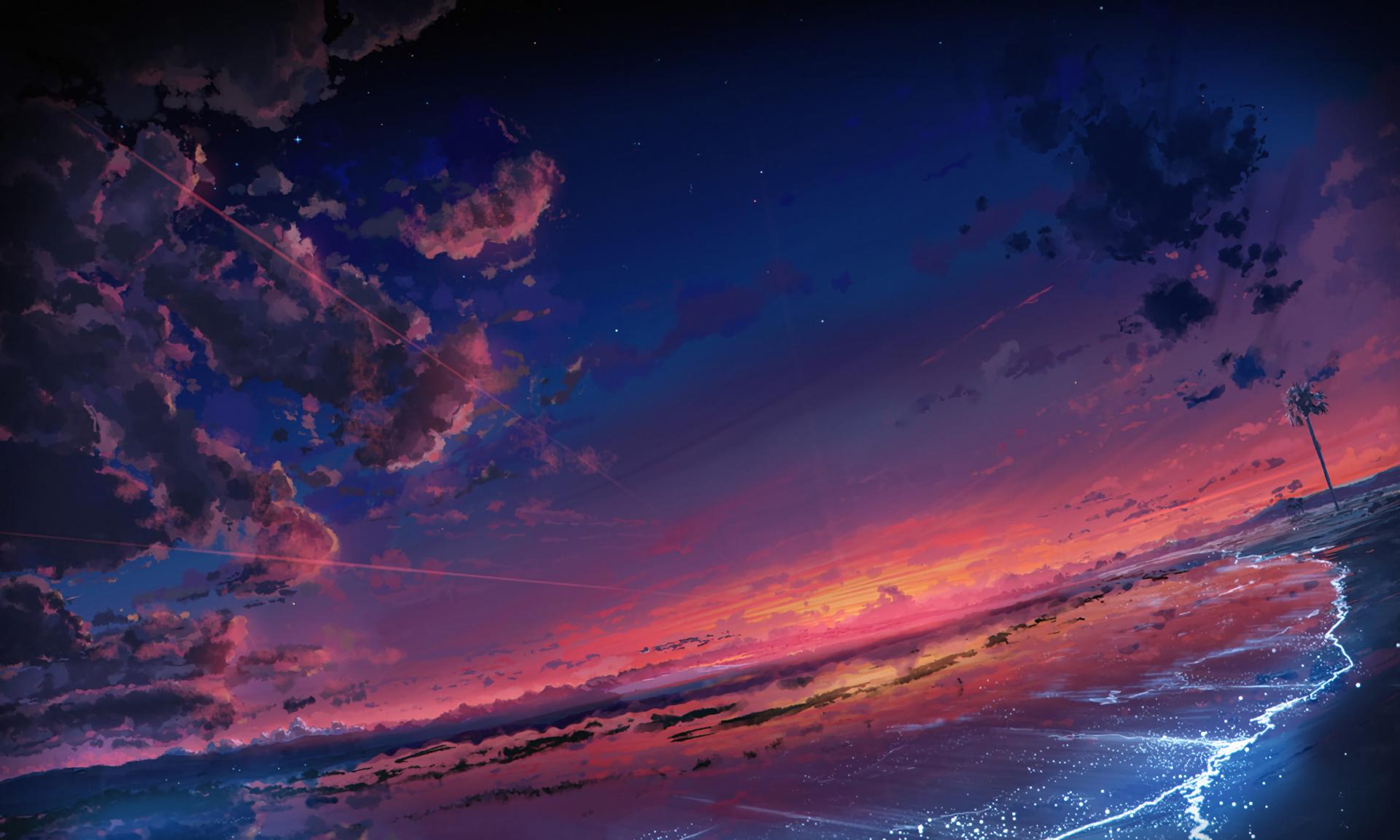 Anime - Original  Sky Cloud Scenic Beach Sunset Wallpaper