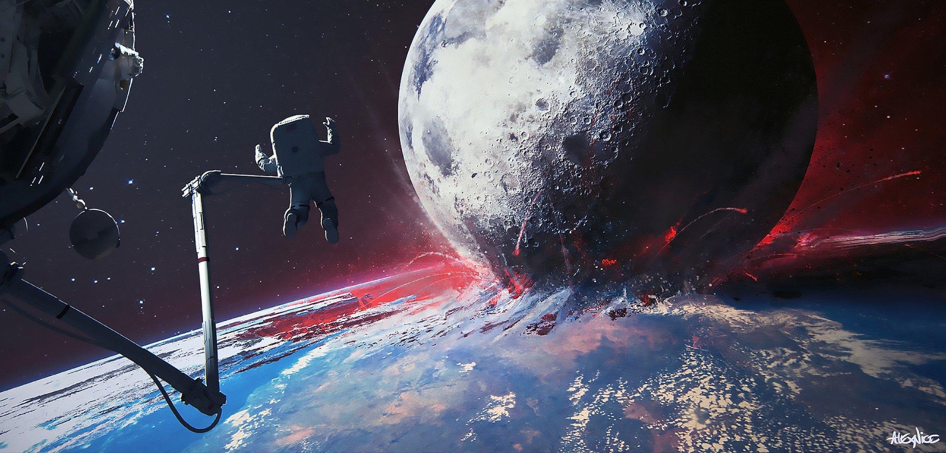 Sci Fi - Collision  Astronaut Moon Earth Galaxy Stars Wallpaper