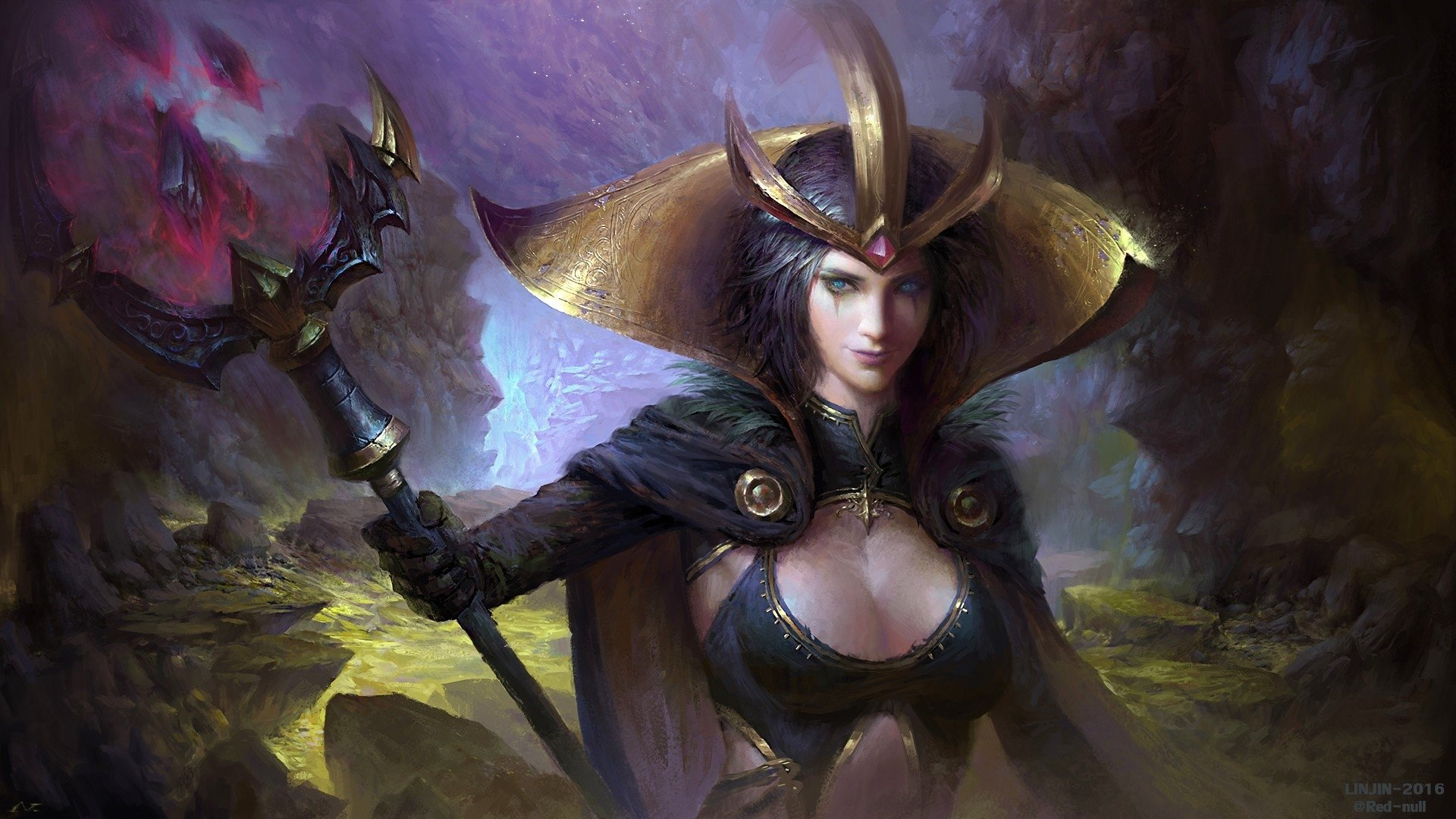 Video Game - League Of Legends  Girl Fantasy Woman Staff Crown Weapon Sorceress Blue Eyes Short Hair LeBlanc (League Of Legends) Wallpaper