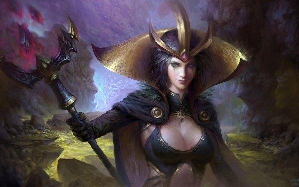 Jeux Vidéo League Of Legends Fantaisie Crown Arme LeBlanc Blue Eyes Short Hair Staff Magicienne Fond d'écran HD | Image