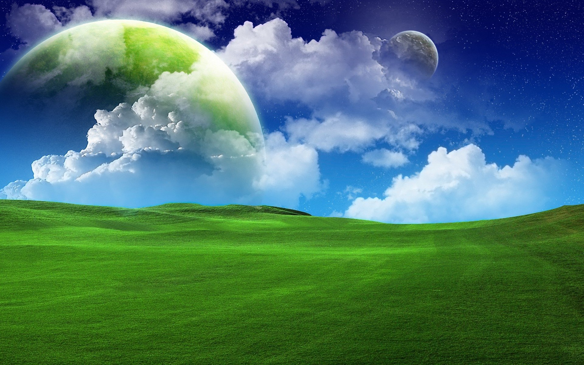 Science-Fiction - Landschaft  Planet Sterne Grün Feld Himmel Wolke Weltraum Wallpaper