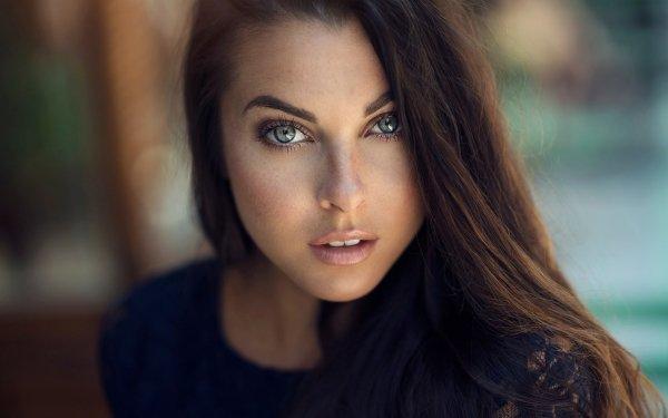 Women Face Woman Model Blue Eyes Brunette Depth Of Field HD Wallpaper | Background Image