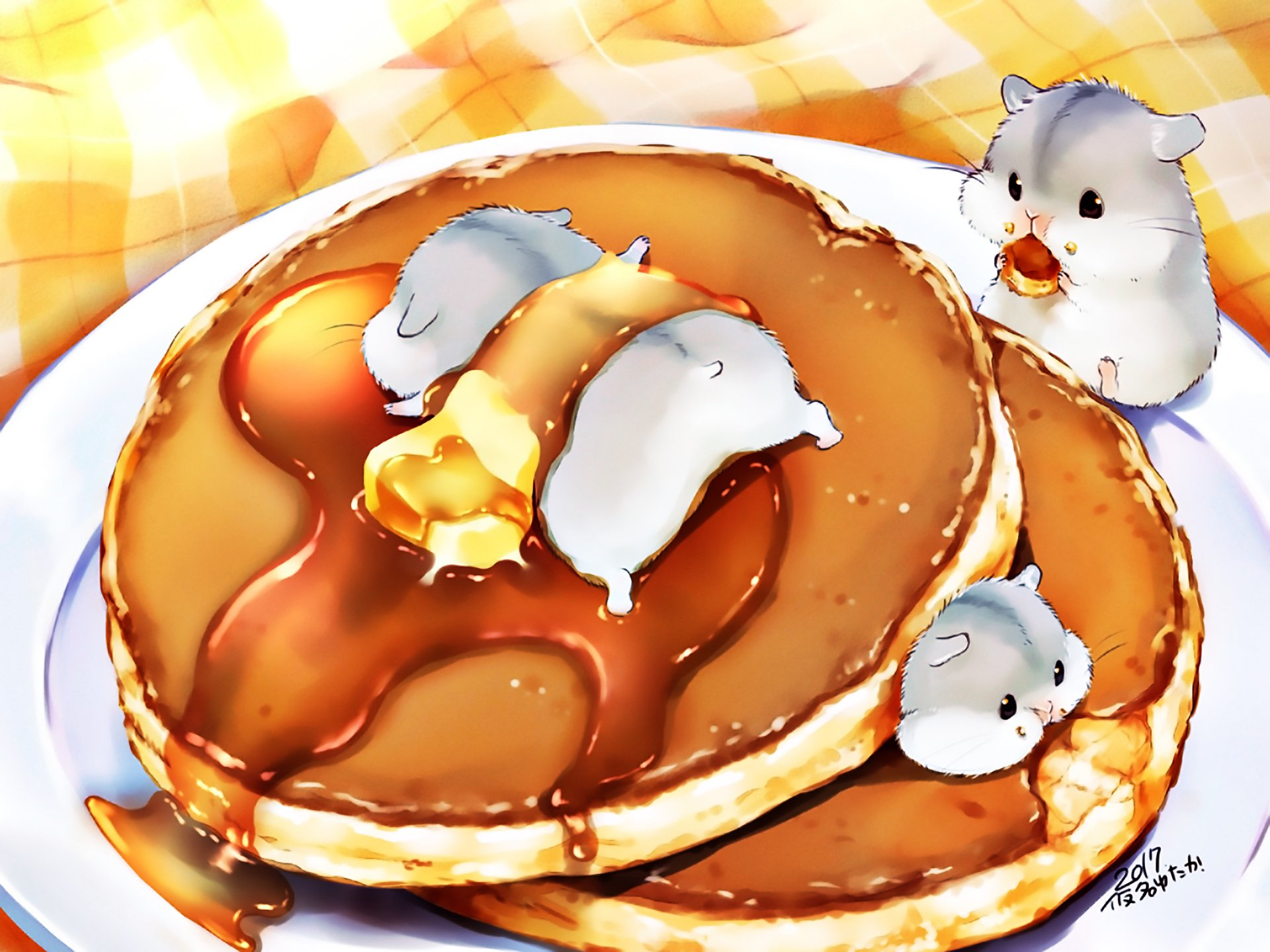 Anime - Original  Hamster Cute Cake Plate Wallpaper