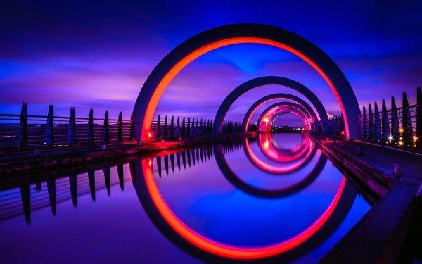 Man Made Falkirk Wheel Buildings Scotland Night Light Reflection HD Wallpaper | Background Image