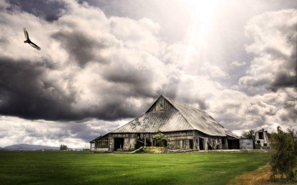 Man Made Ruin Grass Landscape Barn HD Wallpaper | Background Image
