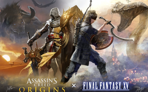 Video Game Crossover Bayek Of Siwa Noctis Lucis Caelum Final Fantasy XV Assassin's Creed Origins HD Wallpaper   Background Image