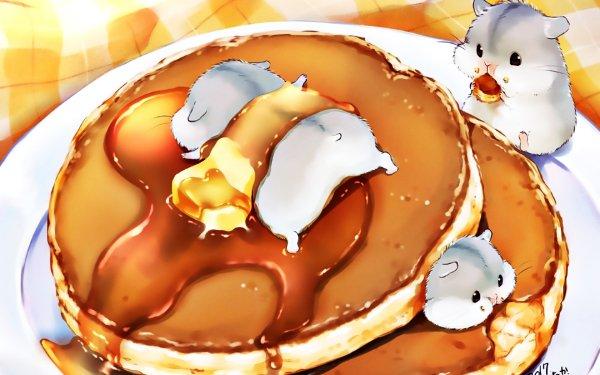 Anime Original Hamster Lindo Plate Fondo de pantalla HD | Fondo de Escritorio