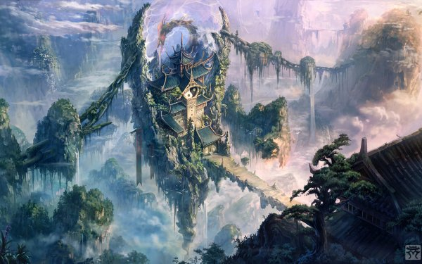 Fantasy Temple Landscape Sky Oriental HD Wallpaper | Background Image