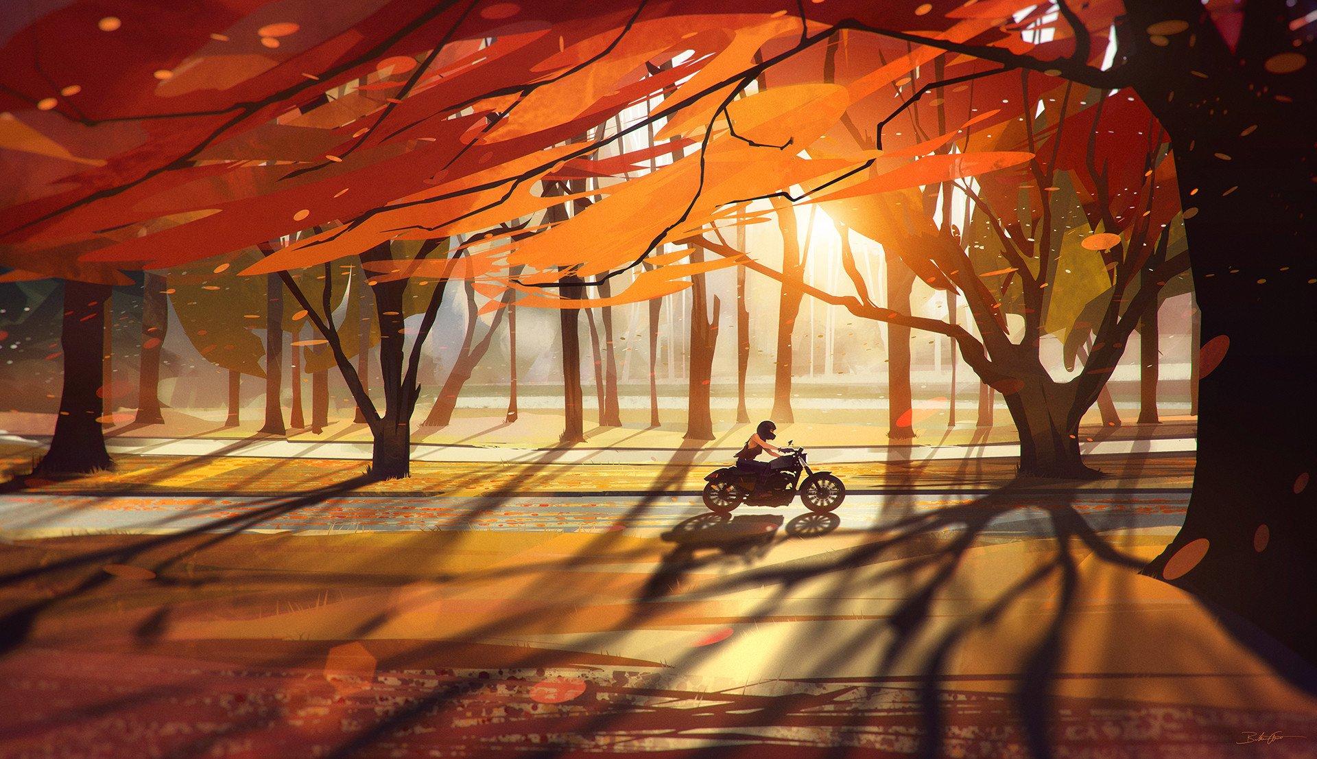 Artistic - Season  Girl Biker Wallpaper