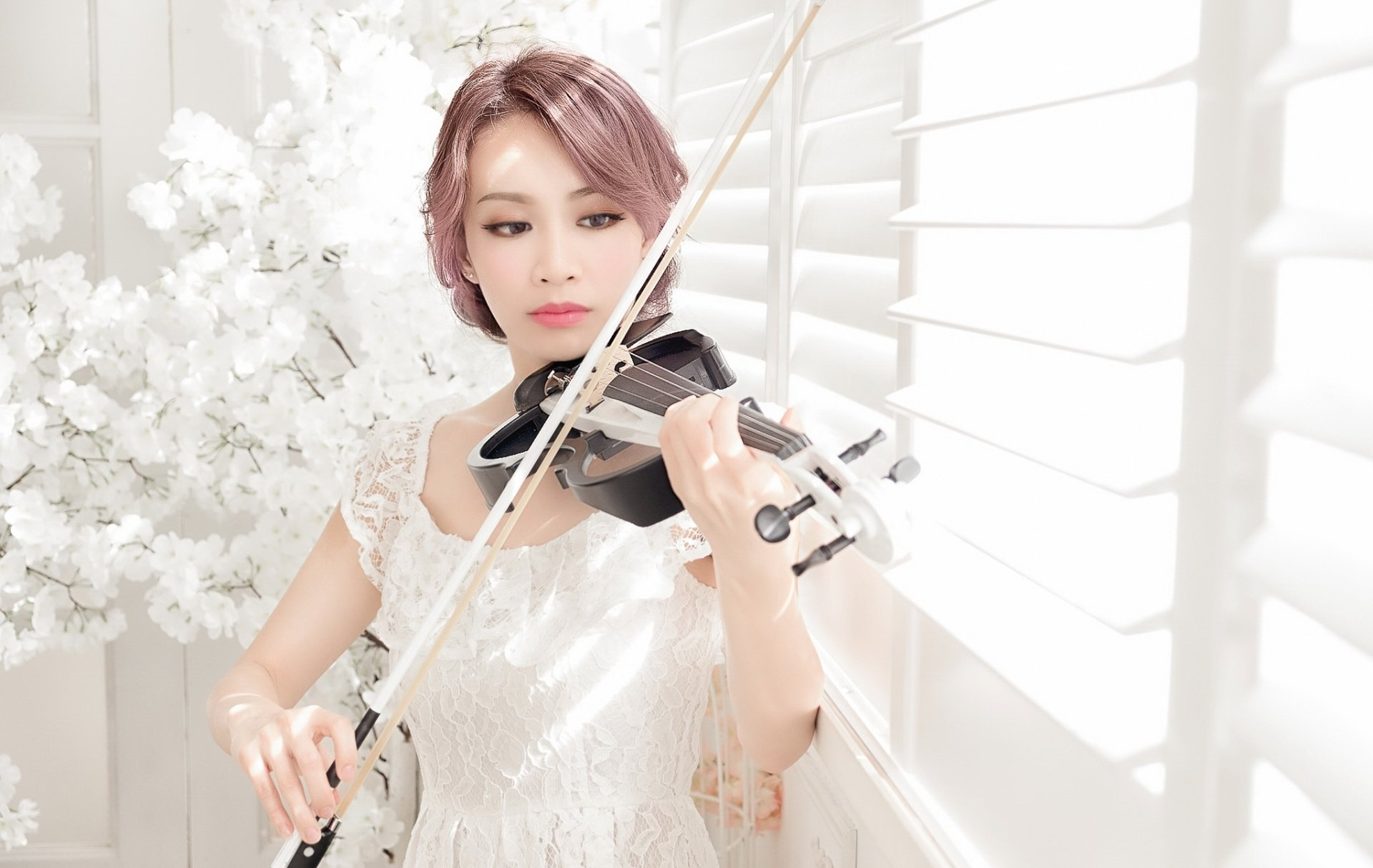Women - Asian  Girl Model Woman Violin Pink Hair White Dress Wallpaper