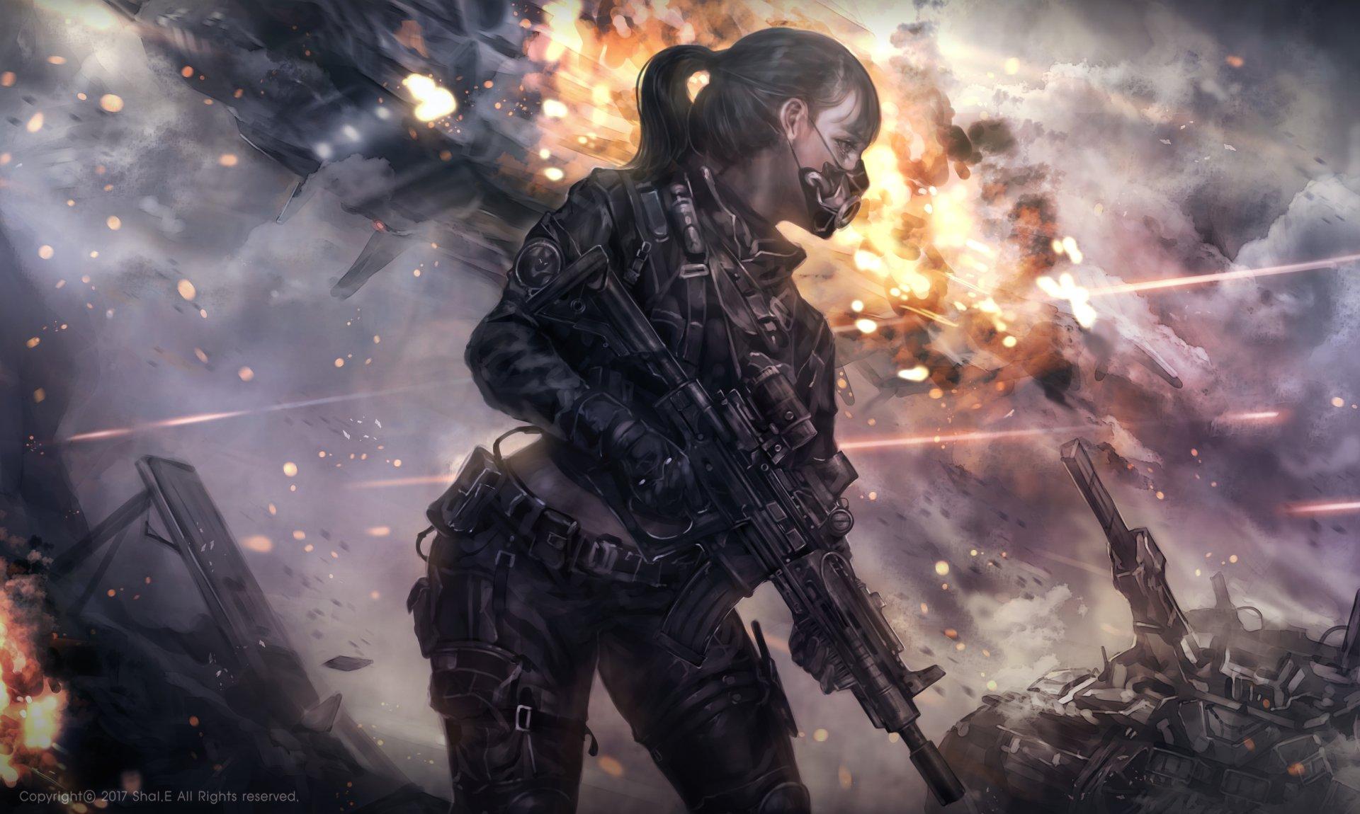 Anime - Original  Explosion Girl Gun Armor Warzone Ponytail Wallpaper