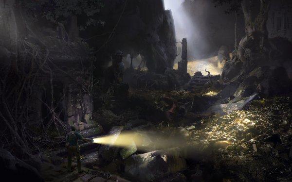 Fantaisie Ruine Treasure Adventurer Flashlight Sunlight Grotte Fond d'écran HD | Arrière-Plan