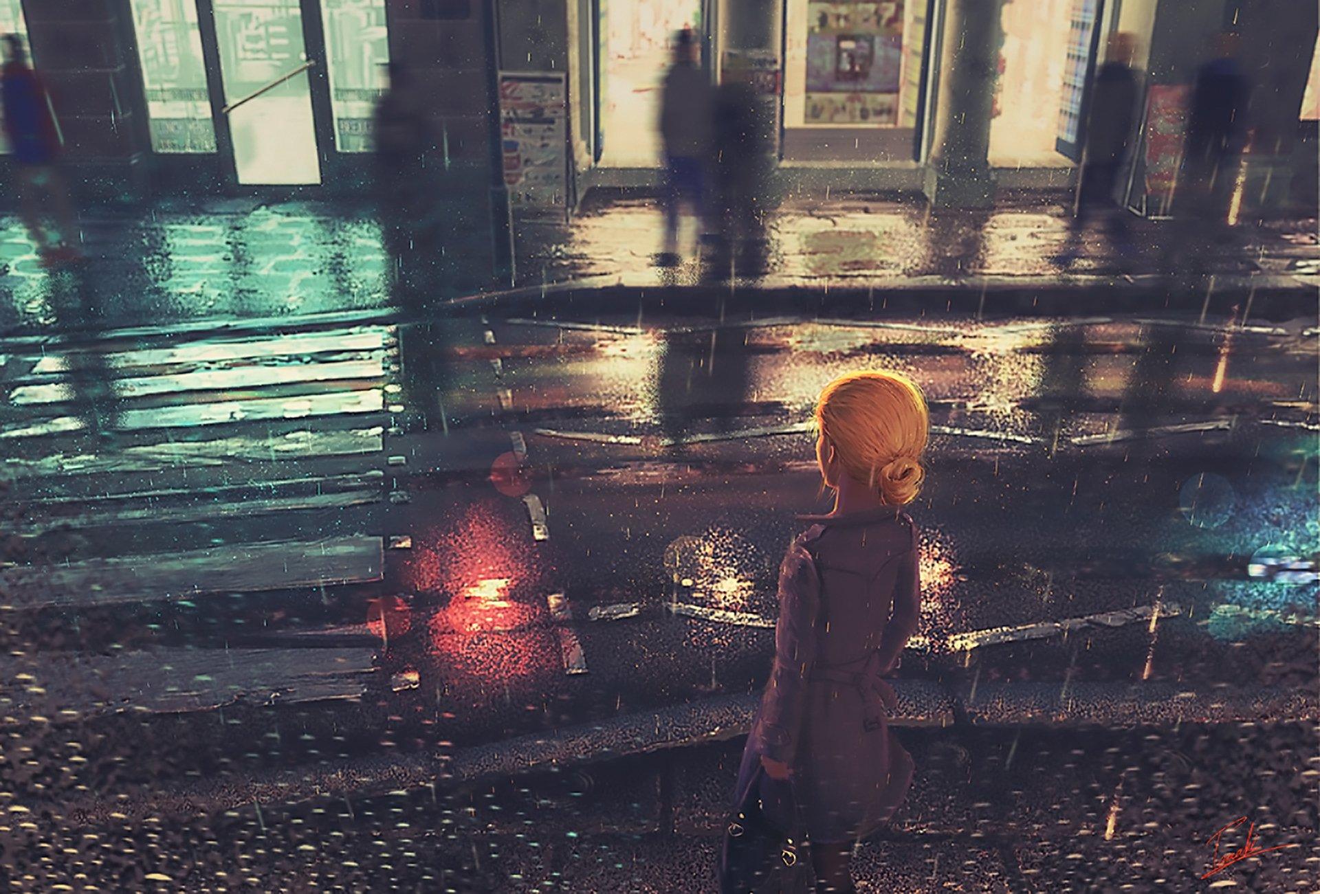 Anime - Original  Street Reflection Rain Girl Blonde Wallpaper