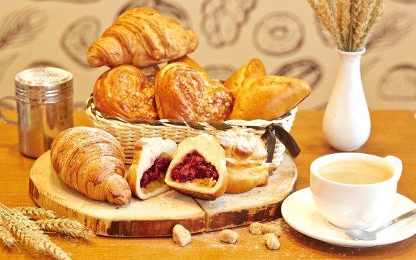 Alimento Desayuno Croissant Viennoiserie Café Cup Bodegón Fondo de pantalla HD | Fondo de Escritorio