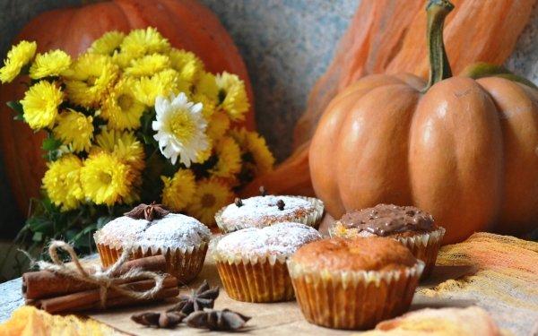 Food Muffin Still Life Pumpkin Cinnamon Flower HD Wallpaper | Background Image