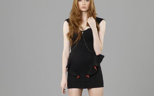 Celebrity Karen Gillan Actresses United Kingdom Actress Redhead Scottish Black Dress HD Wallpaper   Background Image