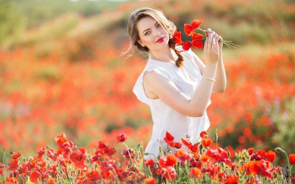Women Model Models Blonde Summer Poppy Flower Red Flower Field Depth Of Field Lipstick Braid HD Wallpaper | Background Image