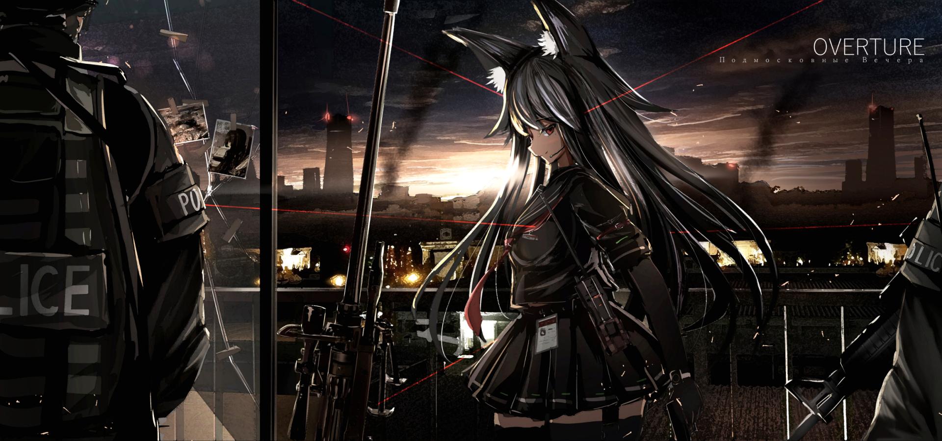 Anime - Original  Girl Police Nekomimi Gun Weapon Uniform Sniper Rifle Wallpaper