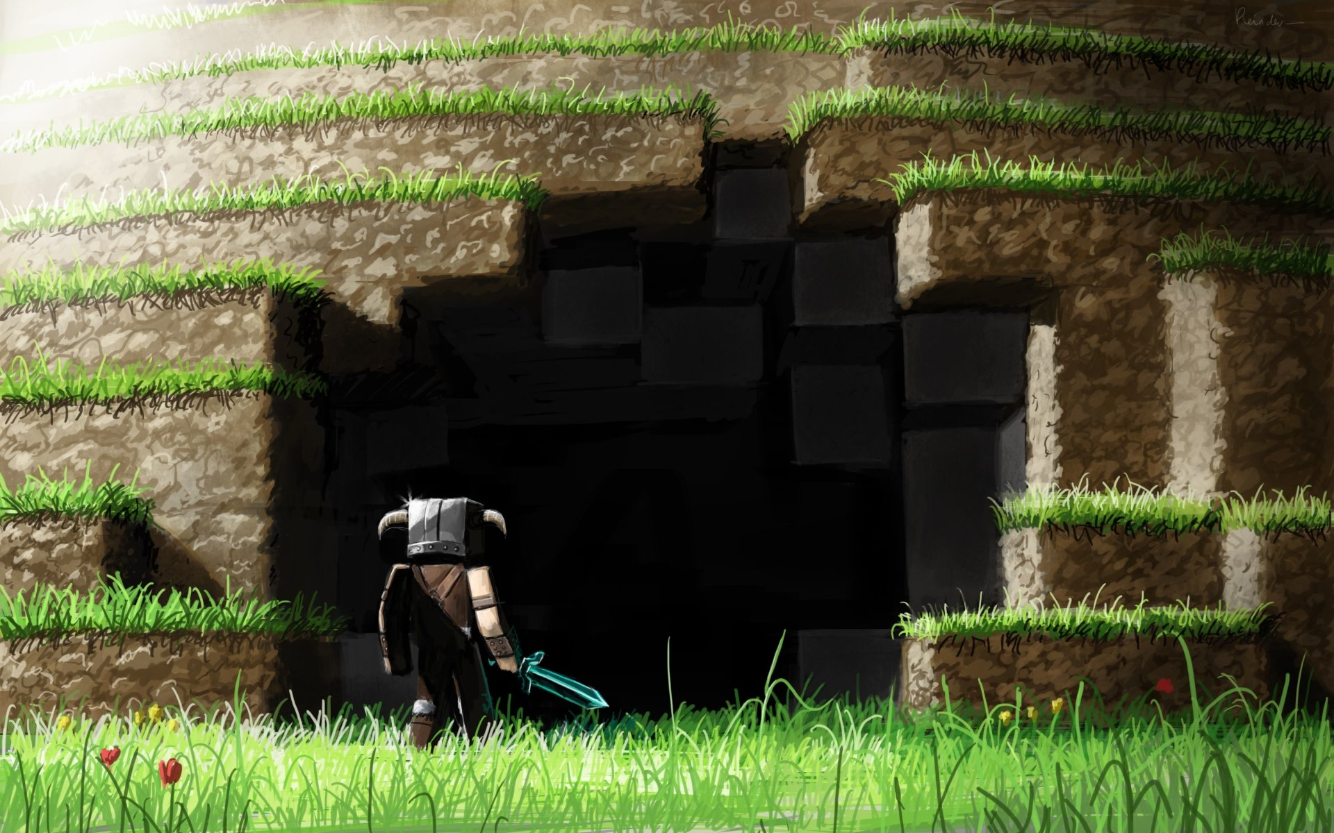 Video Game - Minecraft  Warrior Cave Wallpaper
