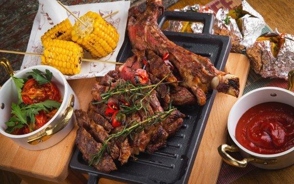 Food Meat Ketchup Corn Still Life HD Wallpaper | Background Image