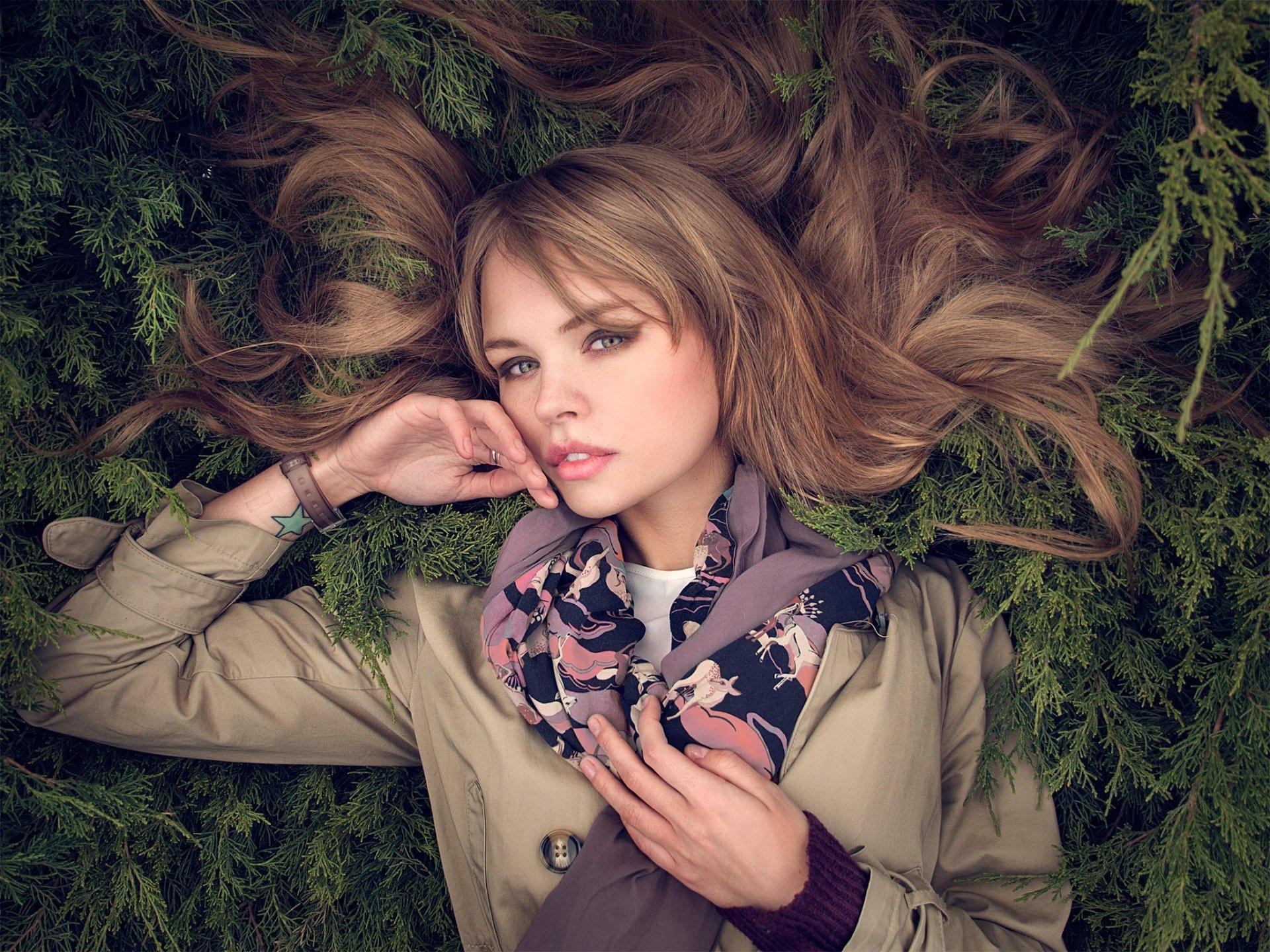 Women - Anastasiya Scheglova  Woman Model Girl Brunette Russian Lying Down Scarf Wallpaper