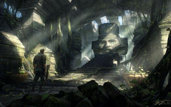 Fantasy Temple Statue Sunbeam Exploration HD Wallpaper | Background Image