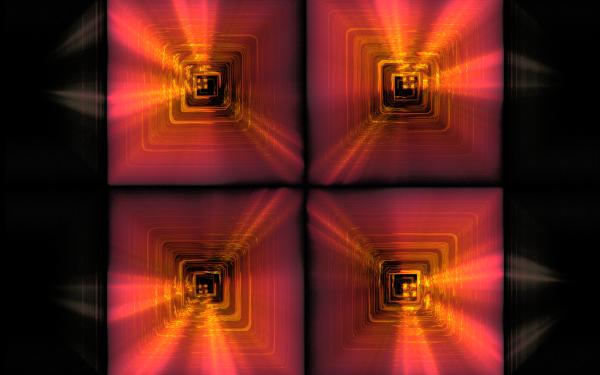 Abstract Fractal Square Light Frame orange Pink Shapes HD Wallpaper | Background Image