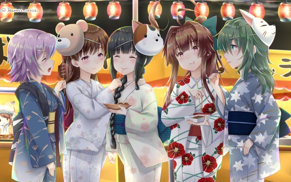 Anime Kantai Collection Error Musume Kiso Kuma Ooi Kitakami Tama HD Wallpaper | Background Image